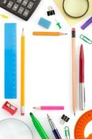 school supplies on white photo