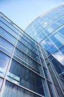 facade of modern glass blue office
