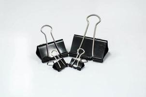 Black metal binder clips photo