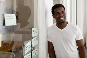 Young African American entrepreneur in his startup office photo
