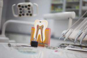 Dental instruments and tools in a dentists office photo