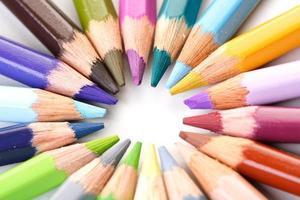 Rainbow coloured pencils - close-up