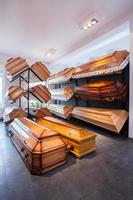 Coffins in funeral home