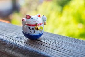 gato de la suerte en color azul foto