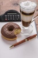 Latte machiato with donuts