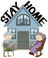 Old people staying home vector