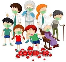 Coronavirus theme with many sick people in hospital vector