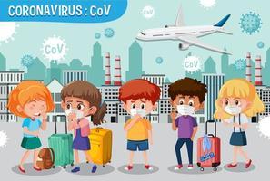 cartel de advertencia de viaje de coronavirus vector