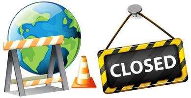 Closed sign on earth representing global pandemic