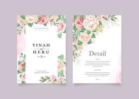 elegante huwelijkskaart met mooie bloemen en bladerensjabloon