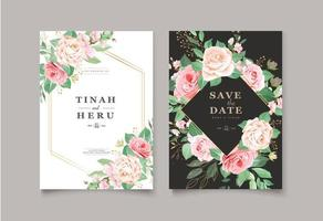 Elegant save the date floral card vector