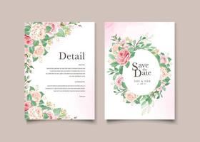 Circle floral and leaves template wedding card vector