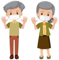 personas de edad avanzada con máscara vector