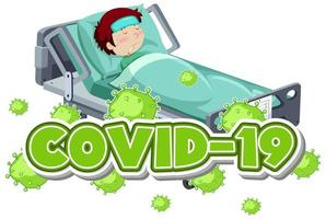 Covid 19 Sign Template with Boy Sick in Bed