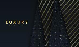 Luxury Black Background With Dots And Lines Golden vector
