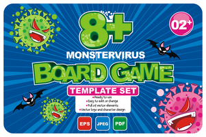 Board Game for Over 8 People Template Set vector