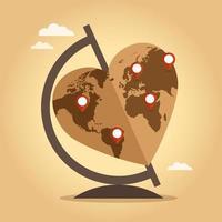 planeta terra em forma de coração vetor