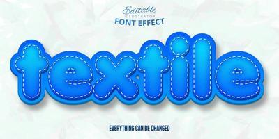 Three D blue editable font effect vector