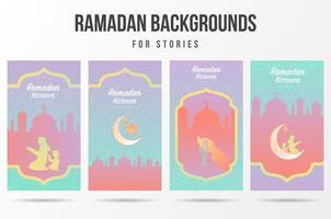 Bright Gradient Color Ramadan Social Media Set  vector