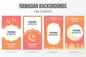 Set of Gradient Orange Pink Gradient Ramadan Social Media Stories  vector