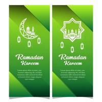 banners de ramadan kareem verde vetor