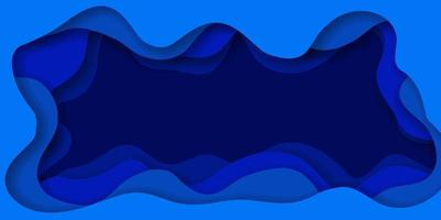 Blue Abstract Paper Cut Effect Background