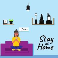 Me quedo en casa con carácter de mujer y decoración de interiores. vector