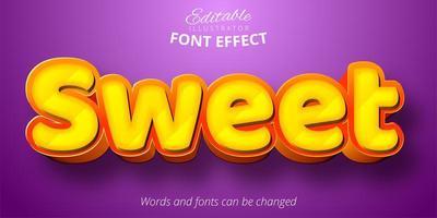 texto dulce, efecto de fuente editable 3d vector