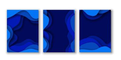 Set of Blue Abstract Paper Cut Backgrounds