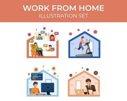 Work From Home Scene Set vector
