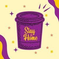 quedarse en casa con una taza de café vector