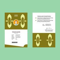 Lime Geometric Flower Shape ID Card Template