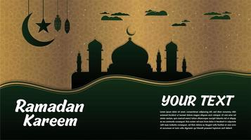Ramadan Kareem Black Silhouette Mosque with Green  vector