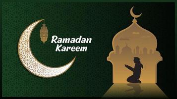 Fondo verde de Ramadán con silueta de luna creciente y mezquita vector