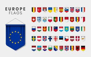 European Flags as 3D Realistic Pennant Set