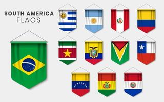 South America Flags as 3D Realistic Pennant Set vector