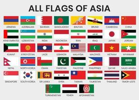 Set of Flags of Asian Countries vector