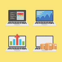 Set of Flat Style Business Concept Laptops  vector