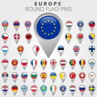 European Flags As Map Pointers vector