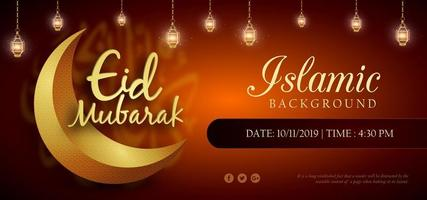 Eid Mubarak Orange Royal Luxury Banner Background vector