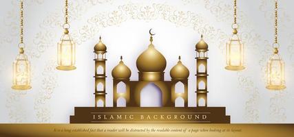 Templo de oro eid mubarak fondo de banner de lujo real blanco vector