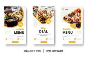 Food menu banner social media story. vector