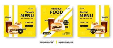 Food banner social media post. vector