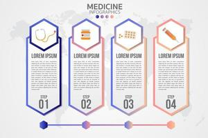 Medicine Four Step Infographic  vector