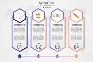 infografía de cuatro pasos de medicina vector