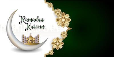Ramadan Kareem Islamic Social Media Banner in Green and White vector