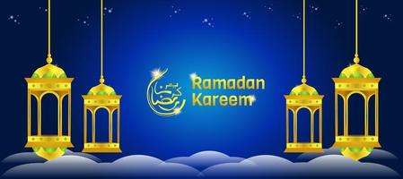 Arabian Lantern Banner vector