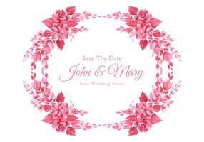 Beautiful Decorative Flowers Save the Date Frame  vector