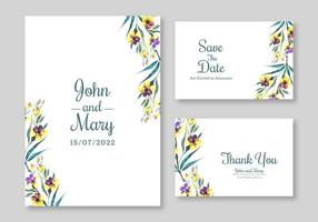 conjunto de invitación de boda hermosas flores amarillas