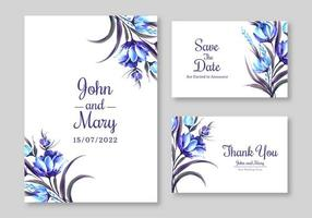conjunto de invitación de boda floral azul vector